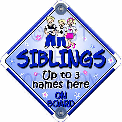 NEW * Personalised for 2 or 3 SIBLINGS Pink & Blue Baby on Board Car Window Sign