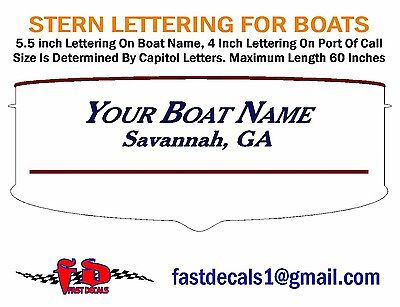 BOAT STERN LETTERING DECAL - FREE SHIPPING - Choose Font and Color