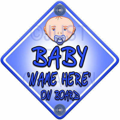NEW ~ Personalised Blue for Boy ~ BABY FACE ON BOARD ~ Car Window Sign
