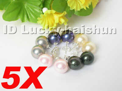 5X navy-blue pink black Gray sea shell pearls earrings