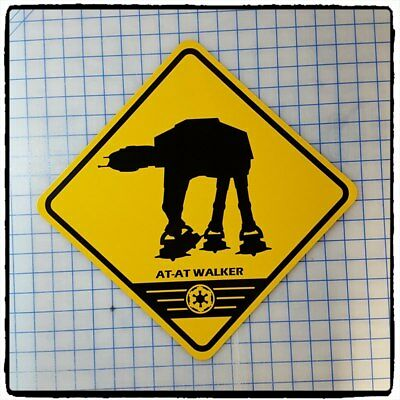 """Star Wars Imperial Walker At-At 16"""" X 16"""" Yellow Sign"""