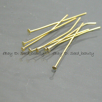 300x Gold Plated Head Pins 35mm