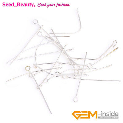 500x Silver Plated Eye Pins for Jewelry Making 50mmx1mm Jewelry Making Findings