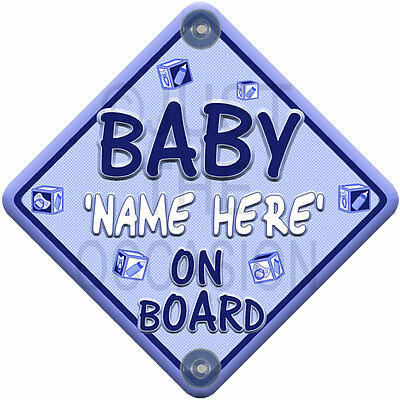 Personalised Blue for Boy ~ MINI BLOCK BABY ~ on Board Car Window Sign