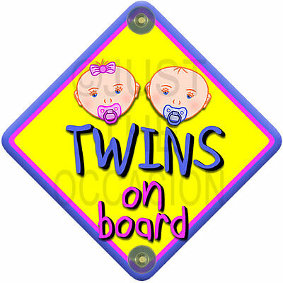 Yellow for boy & girl NP BABY FACE MIXED TWINS on board car window sign