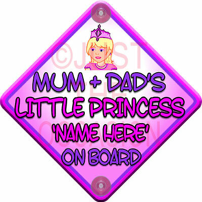 Pink MUM + DAD'S LITTLE PRINCESS Baby on Board Car Window Sign