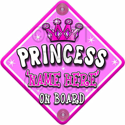 PINK WHITE PRINCESS Personalised Baby on Board Car Window Sign