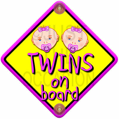 Yellow & Pink NP BABY FACE GIRL TWINS novelty baby on board car window sign