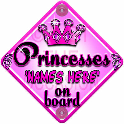 NEW girls   PINK PRINCESSES JEWEL   Personalised Baby on Board Car Window Sign