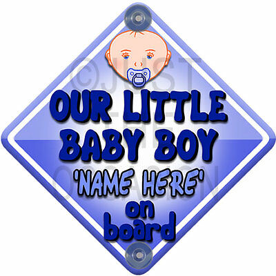 Blue Personalised Baby Face ~ OUR LITTLE BOY ~Baby On Board Car Window Sign