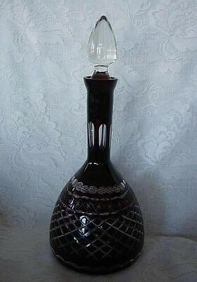 Impressive Ruby Red Hand Blown & Cut-to-Clear Wine Decanter / Bottle