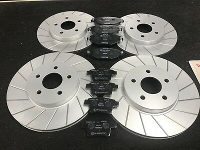 FORD MONDEO MK3 2001-2006 PERFORMANCE GROOVED BRAKE DISC MINTEX BRAKE PADS REAR