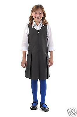 Girls Back To School Pinafore Pleated Dress BNWT
