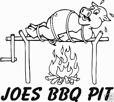 "BBQ Pork Pig Barbecue BBQ Restaurant Personalized Sign Decal 10.6"" Sticker"