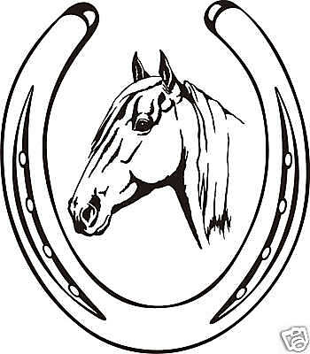 Horse Head Shoe Equestrian Trailer Decal Sign 10.8""