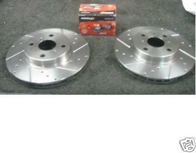 FOR IMPREZA WRX DRILLED GROOVED BRAKE DISC MINTEX  PADS