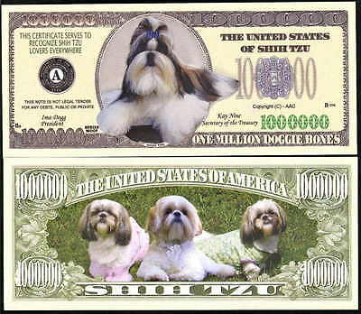 Lot Of 25 Bills - Shih Tzu Dog Million Novelty Dollar