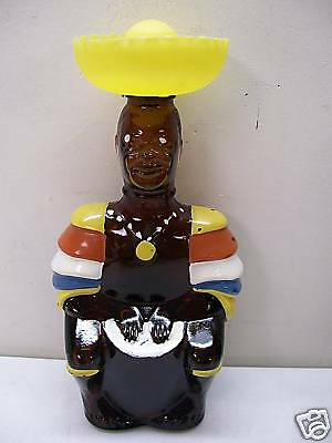 Figural Painted Glass Bottle Jamaican Limbo Drummer