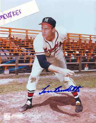 Lew Burdette 1957 Milwaukee Braves Signed 8x10 Photo #2