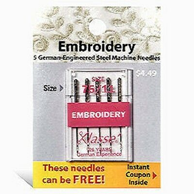 Klasse Embroidery Needles Size 75/11 25 Pack  Free ship