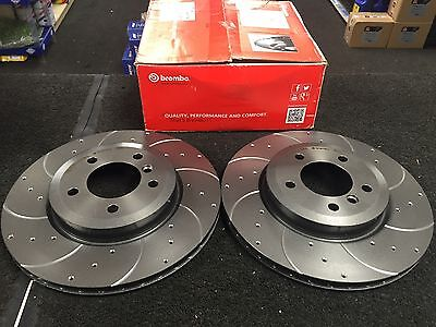 BMW 316ti COMPACT 318D BRAKE DISC BREMBO CROSS DRILLED GROOVED BRAKE DISC /& PAD