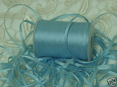 Embroidery Ribbon 100% Pure Silk Azure Blue 2Mm 25Yds