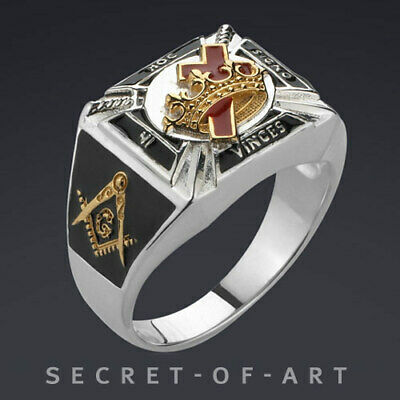 Knights Templar Masonic Silver 925 Sterling Ring wtih 24K Gold-Plated Parts