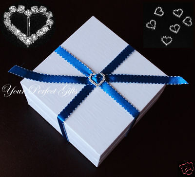 50 HEART Wedding Invitation Ribbon Rhinestone Buckle