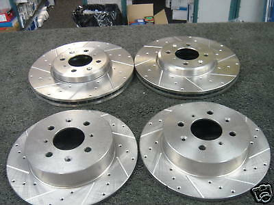 ROVER MG ZT 1.8 2.0 CDTI  BRAKE DISC DRILLED GROOVED MINTEX BRAKE PADS FRONT