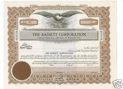 BASSETT CORPORATION Stock Certificate - MINT - Eagle