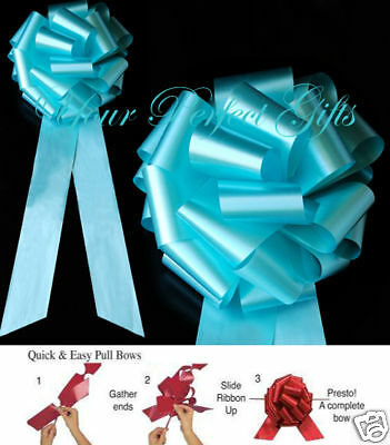 "10 pcs TEAL BLUE 9"" WEDDING PULL PEW BOWS BRIDAL CHURCH CHAIR TABLE CENTERPIECE"