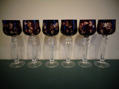 6 Ruby Cut To Clear Hock Crystal Wine Glasses