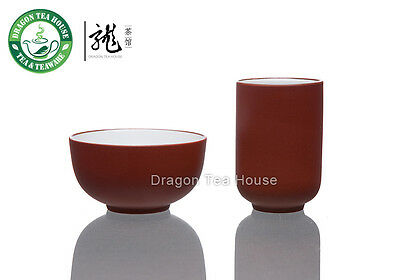 Chinese Zisha Clay Glazed Red Aroma Tea Cup Set