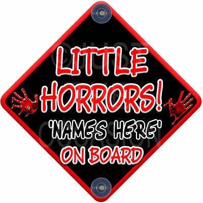 Black & Red for LITTLE HORRORS Baby on Board Car Window Sign HALLOWEEN