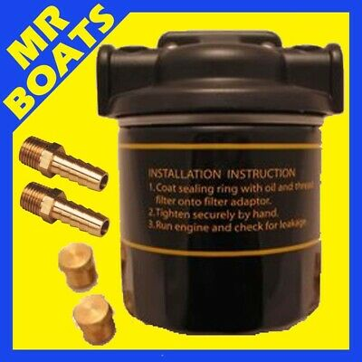 WATER SEPERATING FUEL FILTER KIT Outboard & Inboard Boat Engine Motor 10 MICRON
