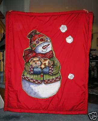 3D Snowman Fabric & Dog Quilt Throw Blanket - red/white