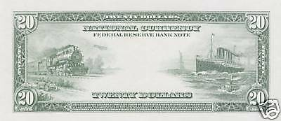 Proof Print by the BEP - Back of 1915 $20.00 F.R. Note