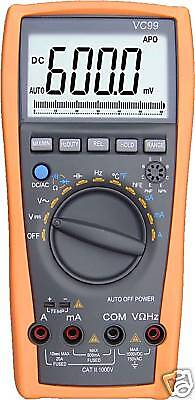 VC99 5999 Auto range test multimeter analog bar buzz diode tester R C F temp DE