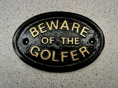 Golfer Beware House Plaque Sign Putter Driver Iron Club