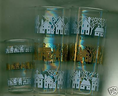 3 Federal Glasses Tumblers Houses Trees Rows Blue Gold
