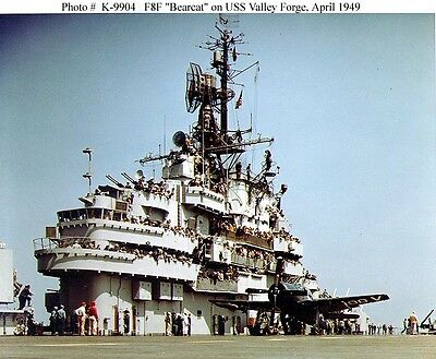 Uss Valley Forge Cv-45 8X10 Photo Aircraft Carrier Warship F8F Bearcat   Plane