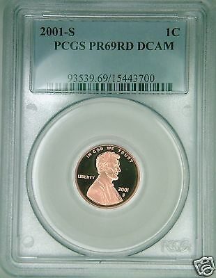 2001-S PCGS PR69DCAM proof Lincoln cent deep cameo red