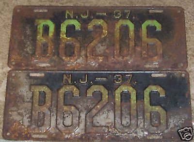 1937 New Jersey~B6206~Pair License Plates  Tags