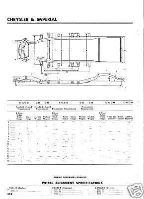 1973 Lincoln Continental NOS Frame Dimensions Front End Wheel  Alignment Specs