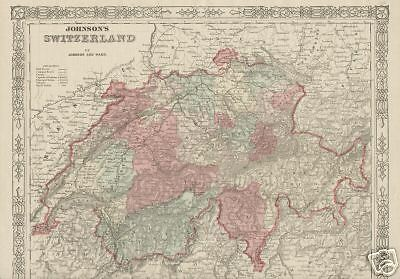 Switzerland Map Hand Colored Original Vintage 1867 by Johnson and Ward Antique