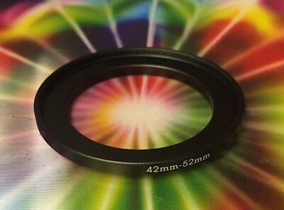 1(one) Step-Up Filter Ring-Adapter Black METAL 42mm to 52mm 42-52 mm M42-F52 mm
