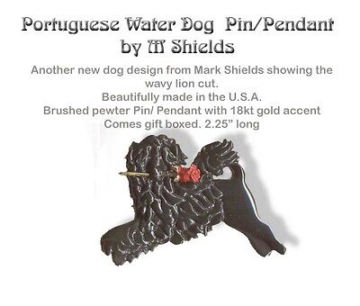 Black Portuguese Water Dog Pin /Pendant Handcrafted By M Shields