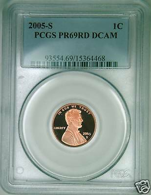 2005-S PCGS PR69DCAM proof Lincoln cent deep cameo red