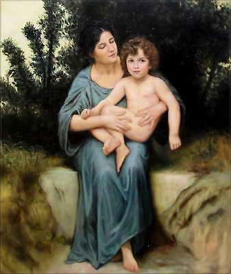Stretched Hand Painted Oil Painting Repro Bouguereau Little Brother 20x24in