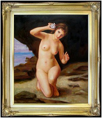 Framed Hand Painted Oil Painting Repr Bouguereau Femme Au Coquillage 20x24in